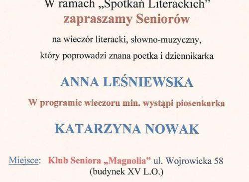 Spotkanie literackie z Anną Leśniewską